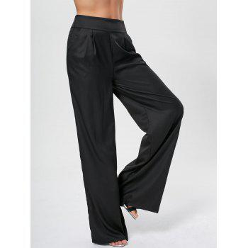 High Rise Long Palazzo Pants