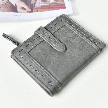 Faux Leather Stitching Small Wallet - GRAY GRAY