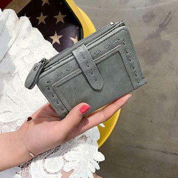 Faux Leather Stitching Small Wallet -  GRAY