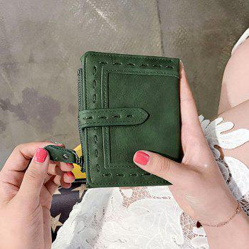 Faux Leather Stitching Small Wallet -  GREEN