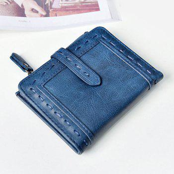 Faux Leather Stitching Small Wallet - BLUE BLUE