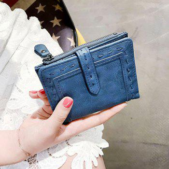 Faux Leather Stitching Small Wallet -  BLUE