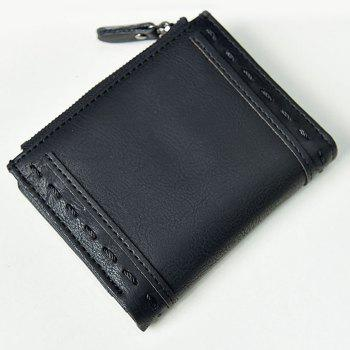 Faux Leather Stitching Small Wallet - BLACK