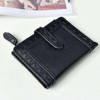 Faux Leather Stitching Small Wallet