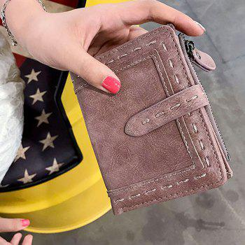 Faux Leather Stitching Small Wallet -  DEEP PINK