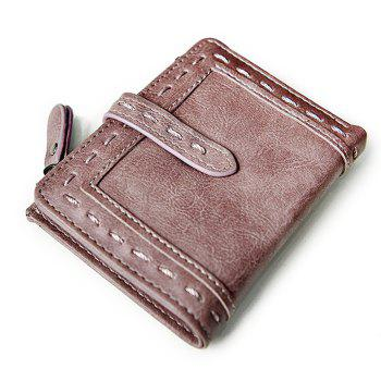 Faux Leather Stitching Small Wallet - DEEP PINK DEEP PINK