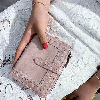Faux Leather Stitching Small Wallet -  LIGHT PINK