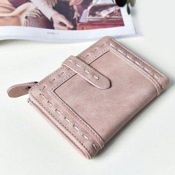 Faux Leather Stitching Small Wallet - LIGHT PINK LIGHT PINK
