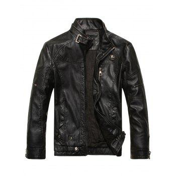 Stand Collar Fleece Zip Up PU Leather Jacket