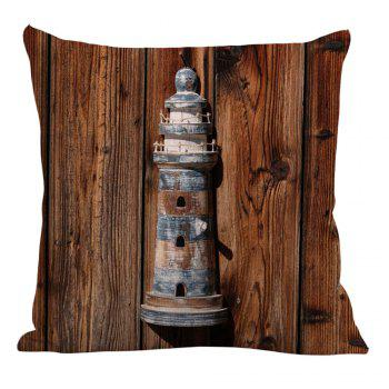 Wood Grain Lighthouse Linen Pillow Case - BROWN 45*45CM