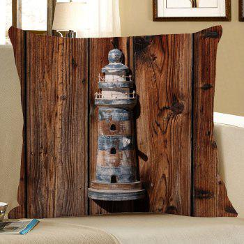 Wood Grain Lighthouse Linen Pillow Case - BROWN BROWN