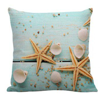 Starfish Sea Shell Printed Linen Pillow Case - LIGHT BLUE 45*45CM