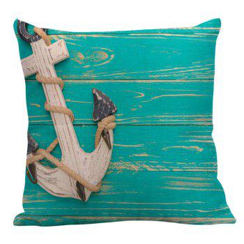 Anchor Wood Grain Printed Linen Pillow Case - BLUE GREEN 45*45CM