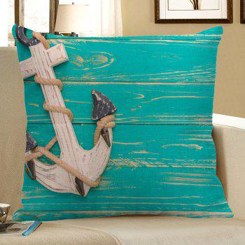 Anchor Wood Grain Printed Linen Pillow Case