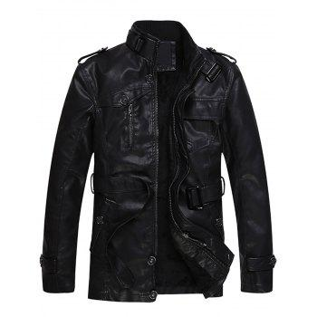 Epaulet and Belt Zip Up PU Leather Fleece Coat