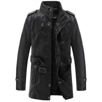 Epaulet Stand Collar Longline PU Leather Fleece Coat