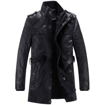 Stand Collar Belt Epaulet Faux Leather Fleece Coat