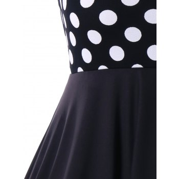 Plus Size Polka Dot Sleeveless A Line Dress - BLACK WHITE 5XL