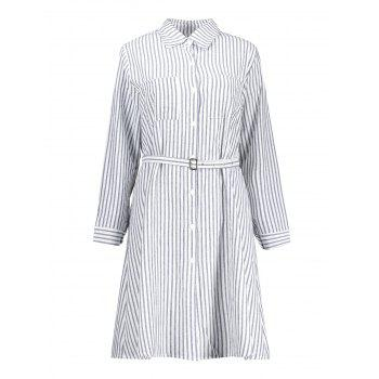 Belted Striped Plus Size Shirt Dress