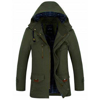 Snap Button Zipper Slim Fit Hooded Coat