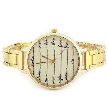 English Number Face Alloy Watch - GOLDEN