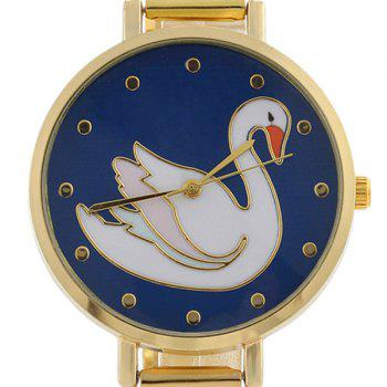 Swan Face Alloy Strap Watch - Or