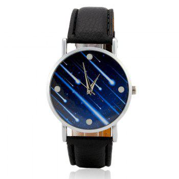 Meteor Shower Face Faux Leather Watch