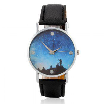Starry Sky Face Faux Leather Watch
