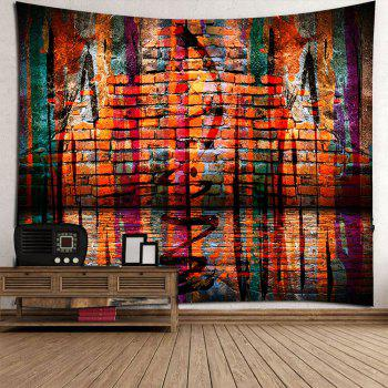 Brick Wall Waterproof Wall Art Tapestry - COLORFUL W59 INCH * L51 INCH