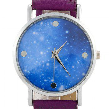 Faux Leather Starry Sky Face Watch - Pourpre
