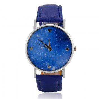 Faux Leather Starry Sky Face Watch