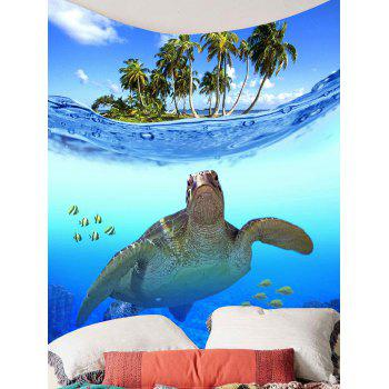 Palm Fish Sea Turtle Print Wall Hanging Tapestry - BLUE W79 INCH * L59 INCH