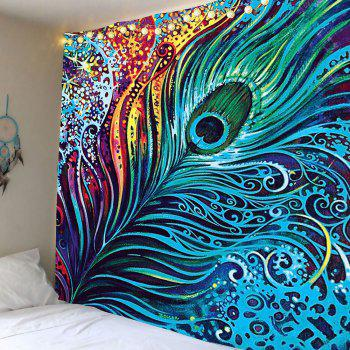Peacock Feather Print Wall Tapestry