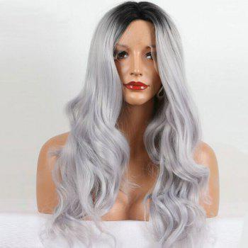 Middle Part Ombre Long Wavy Lace Front Synthetic Wig