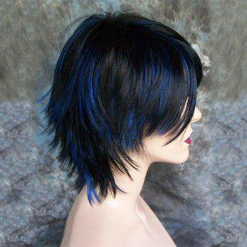 Short Inclined Bang Highlight Straight Synthetic Wig