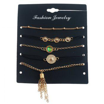 Artificial Gem Fringed Chain Bracelet Set -  GOLDEN