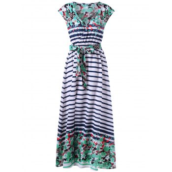 Tie Belt Striped and Floral Maxi Dress