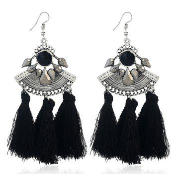 Faux Gem Tassel Teardrop Hook Earrings