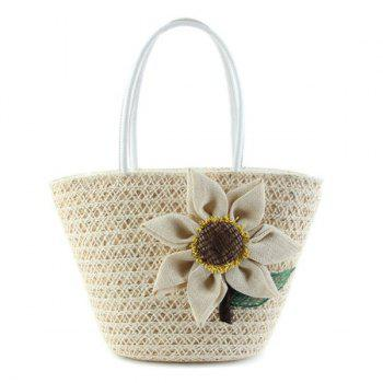 Sunflower Woven Straw Beach Bag