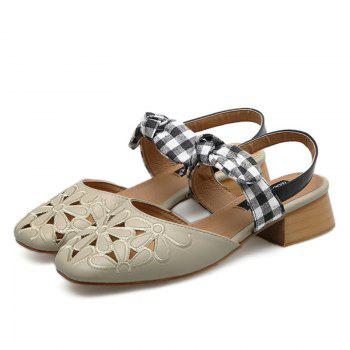Plaid Pattern Hollow Out Sandals - APRICOT 39