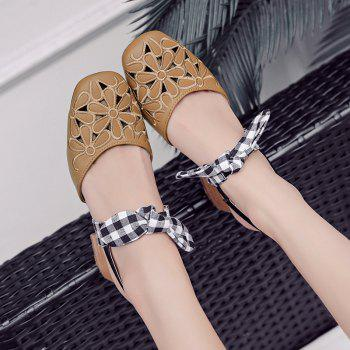 Plaid Pattern Hollow Out Sandals - BROWN 37
