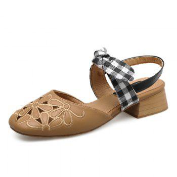Plaid Pattern Hollow Out Sandals - BROWN 38