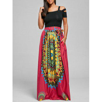Print Bohemian Maxi Skirt with Belt