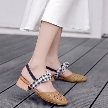 Plaid Pattern Hollow Out Sandals