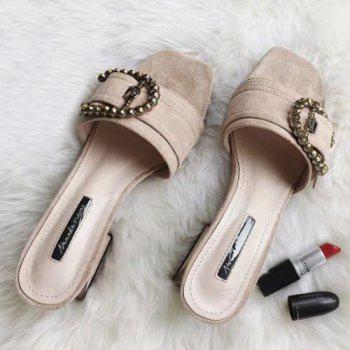Block Heel Rhinestones Buckle Strap Slippers - APRICOT APRICOT