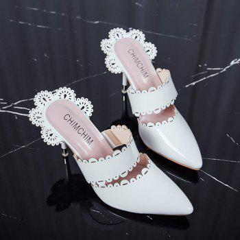 Stiletto Heel Scalloped Slippers - WHITE 39