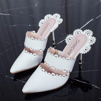 Stiletto Heel Scalloped Slippers - WHITE WHITE