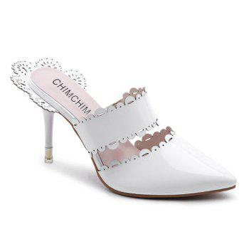 Stiletto Heel Scalloped Slippers