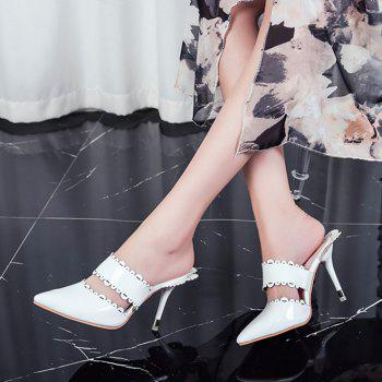 Stiletto Heel Scalloped Slippers - 38 38