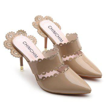 Stiletto Heel Scalloped Slippers - APRICOT 39